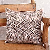 Cotton cushion cover, 'Earthen Trellis' - Spice Brown and Grey Diamond Brocade Cotton Cushion Cover