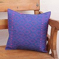 Cotton cushion cover, 'Felicity' - Blue and Fuchsia Diamond Brocade Cotton Cushion Cover