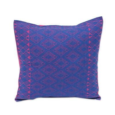 Cotton cushion cover, 'Felicity' - Blue and Fuchsia Diamond Brocade Cotton Cushion Cover