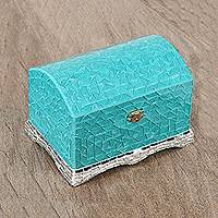 Glass mosaic jewelry box, 'Turquoise Treasure' - Turquoise and Silver Painted Glass Mosaic Jewelry Box
