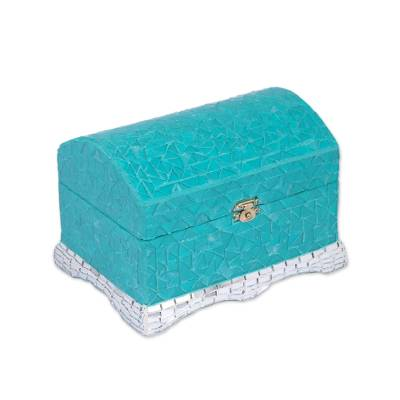 Turquoise and Silver Painted Glass Mosaic Jewelry Box Turquoise