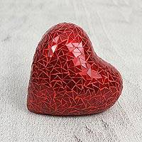 Ceramic and glass mosaic figurine, 'Brilliant Love' (6 inch) - Handcrafted Red Heart Glass Mosaic Ceramic Figurine (6 Inch)