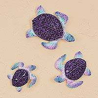 Ceramic and glass mosaic wall sculptures, 'Playful Turtles' (set of 3) - Purple Glass Mosaic Ceramic Turtle Wall Figurines (Set of 3)