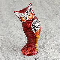 Glass mosaic statuette, 'Crimson Owl' - Handcrafted Red and Yellow Glass Mosaic Owl Statuette