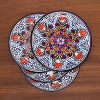 Ceramic dinner plates, 'Radiant Flowers' (set of 4) - Mexican Talavera Style Ceramic Dinner Plates (Set of 4)