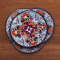 Ceramic salad plates, 'Radiant Flowers' (set of 4) - Set of 4 Talavera Style Ceramic Luncheon or Salad Plates
