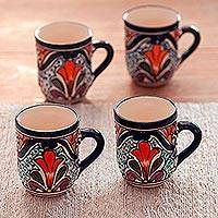 Ceramic mugs, 'Radiant Flowers' (set of 4) - Set of 4 Talavera Style Floral Mugs Hand Crafted in Mexico