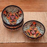Ceramic soup bowls, 'Radiant Flowers' (set of 4) - Four Handcrafted Mexican Talavera Style Ceramic Soup Bowls