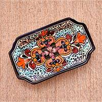 Ceramic serving dish, 'Radiant Flowers' - Talavera-Style Ceramic Serving Dish from Mexico