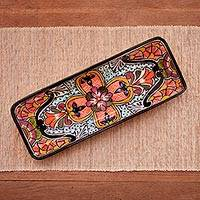 Ceramic serving platter 'Radiant Flowers' - Mexican Talavera Style Rectangular Floral Serving Platter