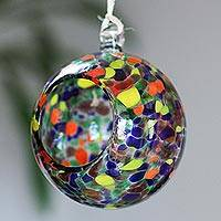 Blown glass tealight holder, 'Carnival Spots' - Multicolored Glass Hanging Tealight Holder from Mexico