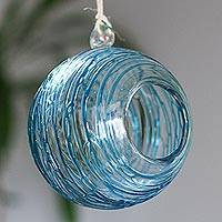 Blown glass tealight holder, 'Aqua Roots' - Handblown Glass Hanging Tealight Holder with Aqua Designs