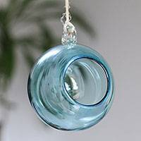 Blown glass tealight holder, 'Clear Blue' - Handblown Glass Hanging Tealight Holder in Blue from Mexico