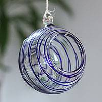 Blown glass tealight holder, 'Blue Thread' - Handblown Glass Hanging Tealight Holder with Blue Stripes