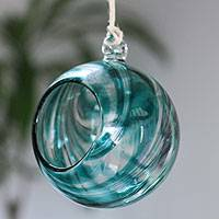 Blown glass tealight holder, 'Teal Swirls' - Handblown Glass Hanging Tealight Holder with Teal Swirls