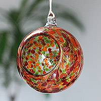 Blown glass tealight holder, 'Salsa' - Red and Green Blown Glass Sphere Hanging Tealight Holder