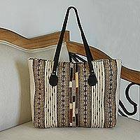 Leather accent Zapotec wool tote, 'Earthy Zapotec' - Handwoven Zapotec Wool Tote Handbag from Mexico