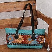 Leather accent Zapotec wool shoulder bag, 'Elegant Geometry' - Handwoven Geometric Shoulder Bag from Mexico