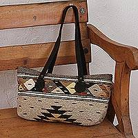 Leather accent Zapotec wool shoulder bag, 'Earth Geometry' - Earth-Tone Zapotec Wool Shoulder Bag from Mexico