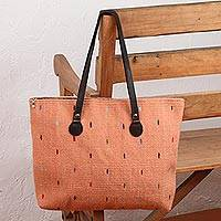Leather accent Zapotec wool tote, 'Peachy Rainbow' - Handwoven Wool Tote in Peach from Mexico