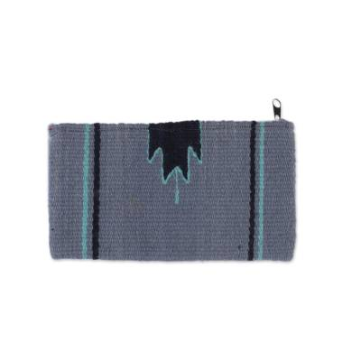Handwoven Zapotec Wool Coin Purse in Blue from Mexico
