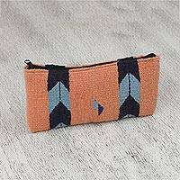 Wool coin purse, 'Peach Arrows' - Handwoven Zapotec Wool Coin Purse in Peach from Mexico