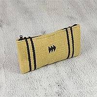 Zapotec wool coin purse, 'Ochre Companion' - Handwoven Zapotec Wool Coin Purse in Ochre from Mexico
