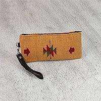 Leather accent Zapotec wool wristlet, 'Caramel Geometry' - Honey-Colored Wool Wristlet from Mexico