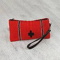 Leather accent Zapotec wool wristlet, 'Poppy Passion' - Handwoven Zapotec Wool Wristlet in Poppy from Mexico