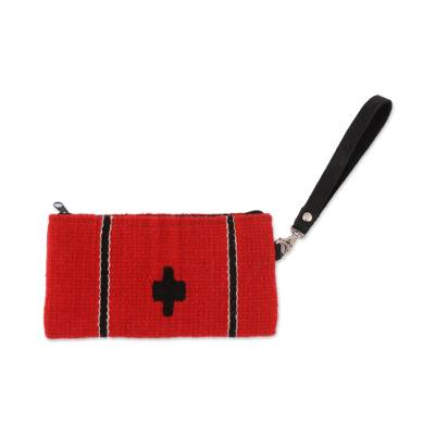 Handwoven Zapotec Wool Wristlet in Poppy from Mexico