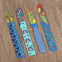 Wood bookmarks, 'Spirit Guides' (set of 4) - Four Animal-Themed Wood Bookmarks from Mexico
