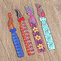 Wood bookmarks, 'Vibrant Animals' (set of 4) - Four Vibrant Wood Bookmarks from Mexico