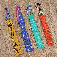 Wood bookmarks, 'Imaginary Paradise' (set of 4) - Four Alebrije-Inspired Wood Bookmarks from Mexico