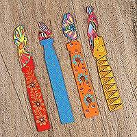 Wood bookmarks, 'Colors of Another World' (set of 4) - Four Hand-Painted Alebrije Wood Bookmarks from Mexico