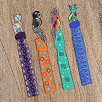 Wood bookmarks, 'Vibrant Jungle' (set of 4) - Set of Four Hand-Painted Wood Bookmarks from Mexico