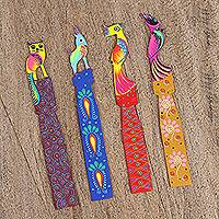 Wood bookmarks, 'Proud Birds' (set of 4) - Set of Four Wood Bird Bookmarks from Mexico