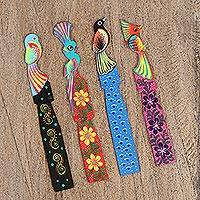 Wood bookmarks, 'Vibrant Guardians' (set of 4) - Four Wood Birds of Paradise Bookmarks from Mexico