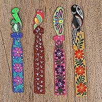 Wood bookmarks, 'Vibrant Friends' (set of 4) - Four Hand-Painted Naranjillo Wood Bookmarks from Mexico