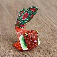Wood alebrije figurine, 'Red Fish' - Hand-Painted Alebrije Wood Fish Figurine in Red