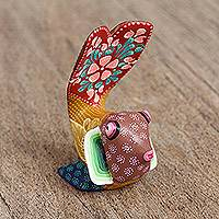 Wood alebrije figurine, 'Flowery Fish' - Hand-Painted Floral Alebrije Wood Fish Figurine