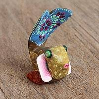 Wood alebrije figurine, 'Folk Fish' - Alebrije Wood Fish Figurine with Hand-Painted Designs