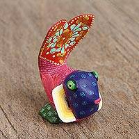 Wood alebrije figurine, 'Colorful Fish' - Floral Copal Wood Alebrije Fish Figurine from Mexico