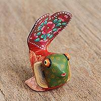 Wood alebrije figurine, 'Beautiful Fish' - Hand-Painted Floral Alebrije Wood Fish Figurine from Mexico