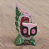 Wood alebrije figurine, 'Guardian Owl in Red' - Hand-Painted Alebrije Wood Owl Figurine in Red