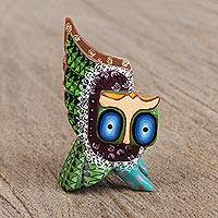 Wood alebrije figurine, 'Guardian Owl' - Hand-Painted Alebrije Wood Owl Figurine from Mexico