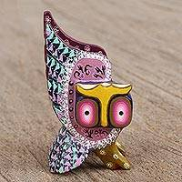 Wood alebrije figurine, 'Guardian Owl in Pink' - Hand-Painted Alebrije Wood Owl Figurine in Pink