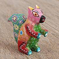 Wood alebrije figurine, 'Squirrel of Flowers' - Artisan Handcrafted Wood Alebrije Squirrel Figurine