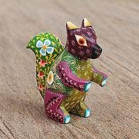 Wood alebrije figurine, 'Floral Squirrel' - Multicolored Wood Alebrije Squirrel Figurine from Mexico