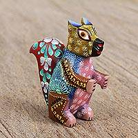 Wood alebrije figurine, 'Vibrant Squirrel' - Handcrafted Wood Alebrije Squirrel Figurine from Mexico