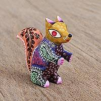 Wood alebrije figurine, 'Jolly Squirrel' - Floral Copal Wood Alebrije Squirrel Figurine